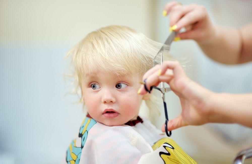 髪を切られている子供